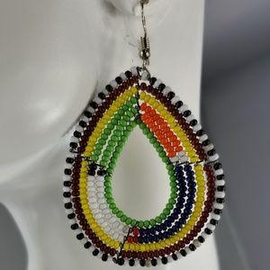 Kenyan Handmade Hoop Earrings, Maasai Beads